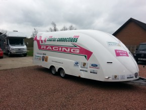 Courier Connections Racing Trailer and Motorhome ready to head to Brands Hatch