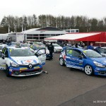 Cars lined up in the holding aerea before making their way to the pits