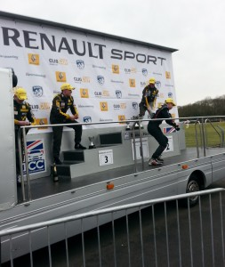 Morgan, Rivett and Bushell Champagne shower on the podium