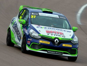 Rob Smith in the Evergreen Tyres car on the Clio Cup Media day at Rockingham