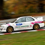 Thomson McIntyre in one of the Courier Connections Subaru's at Oulton Park 2013