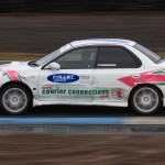 Martin McGeough in one of the Courier Connections - Pallet Track Subaru's at Knockhill